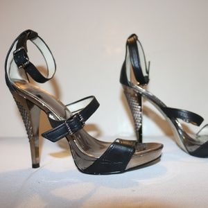 Bakers Mary Black Leather SIlver Strap Party Heels